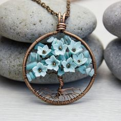 """Tree-Of-Life Necklace 1.6"""" Copper Wire Wrapped Pendant Brown Wired Copper Jewelry Wire Wrapped ModernTree Chips Blue Amazonite Rustic"""