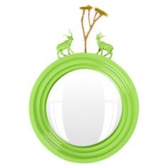 My design inspiration: Kudu Mirror on Fab. Frames and plastic animals spray painted the same color. May do an entire parade of animals around a frame.