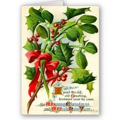 Vintage Christmas Holly Cards