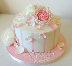 peonies birthday cake from The Jolly Good Pud Company www.jollygoodpud.co.uk