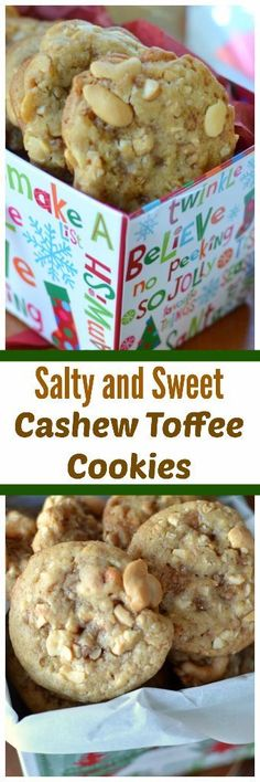 These Salty and Sweet Cashew Toffee Cookies are the perfect combination of salty and sweet in a scrumptious chewy cookie.