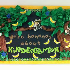 Jungle themed bulletin board for kindergarten, BUT it would be easy to adapt to church school!