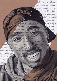 Tupac Shakur Portrait  signed Giclée art print with Changes Lyrics #tupac #2pac #drawing