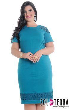 VESTIDO PLUS SIZE 10435 na Clássica Moda Evangélica - Moda Feminina