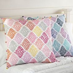 Colorful diamond patterned pillows