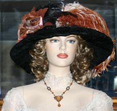 Edwardian Hat Downton Abbey Hat Flapper Hat Church Hat Kentucky Derby Hat ~ Lady Hillary ~ Black & Copper Brown Hat