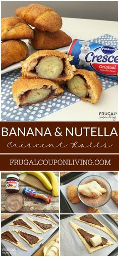 Banana and Nutella Stuffed Crescent Rolls Recipe on Frugal Coupon Living - serve as a delicious dessert or breakfast. Breakfast Idea for Kids.