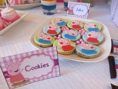 Super cute cookies at a Peppa Pig girl birthday party!   See more party ideas at CatchMyParty.com!