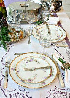 Antique French Haviland Limoges Purple Violet Floral Dinner Plates Set of 6. #FrenchGardenHouse.com