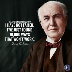 """empiremarketingpro""""I have not failed. I've just found 10,000 ways that don't work."""" - Thomas Edison. #empiremarketingpro Do not fear trying new things. If real estate marketing is something you've never tried before, give it a go starting with our FREE analysis document (audit) of your biz sent to your email! ☆Link in bio @empiremarketingpro Do Not Fear, Le Web, Addiction Recovery, Best Investments, Real Estate Marketing, Motivation, Online Business, Fails, Investing"""