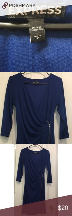 👗Express Dress!👗 Only Worn Twice • Royal Blue Express Dresses Long Sleeve