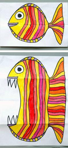 Da jeg var barn foldede vi papir og tegnede på skift ansigt, krop, ben osv. på. Det sjove var når papiret blev foldet ud, så vi kunne se den underlige skabning vi havde tegnet i fællesskab. Her er jeg