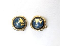 Vintage retro 1960s gold tone world globe cuff links by evaelena, $28.00