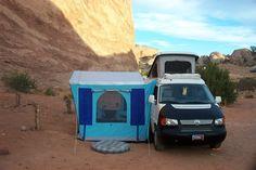 Cool Eurovan camper with side tent. Van Camping, Camping Gear, Camping Hacks, Eurovan Camper, Vw Camper, Vw Bus, Tailgate Tent, 4x4 Van, Van Home
