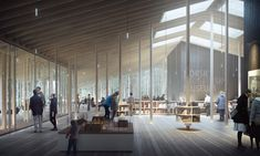 Image 2 of 7 from gallery of Young Architects Win First Prize for Museum of Forest Finn Culture in Norway. Inside the Museum. Image Courtesy of Lipinsky Lasovsky Johansson Museum Architecture, Architecture Visualization, Green Architecture, Organic Architecture, 3d Visualization, Architecture Drawings, Norway Forest, Beautiful Buildings, Studios