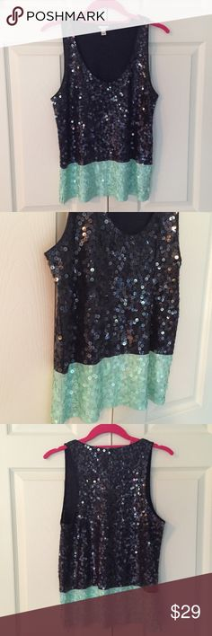 """🎉Final Price🎉J Crew NWOT Colorblock Sequin Top super fun new with out tags Colorblock sequin top from J Crew. 100% cotton with 100% silk trim. size small. bust flat is 16.5"""", length is 23.5"""". 6I2223 ***just reduced to final - price firm unless bundled** J. Crew Tops"""