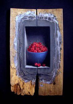 Dimitar Voinov Jr.  (1970-)  Family Cherries, 2011 - Oil on wood.