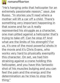 The Russo brothers, on the Chris Evans and the helicopter scene. << Bet anything Bucky is in it<<<BET HE IS <<< DAAAANNG.