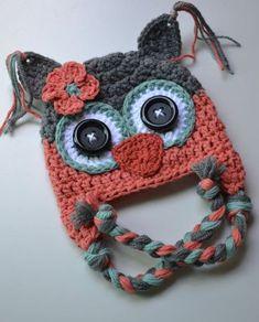 Crochet Baby Hats baby hat crochet baby hat girl hat owl hat by VioletandSassafras - Crochet Owl Hat, Bonnet Crochet, Crochet Kids Hats, Crochet Girls, Love Crochet, Crochet Crafts, Crochet Projects, Crochet Pillow, Knitted Hat