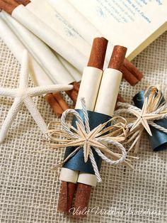 Starfish Wedding Invitation Boxed Scroll Dark by VioletInvitations