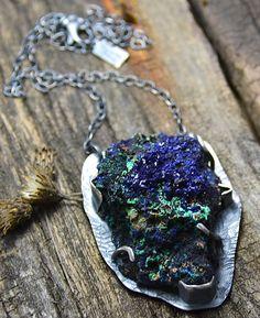 Azurite Specimen Stone Sterling Silver Necklace One of by joykruse
