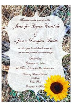 Rustic Country Camo Sunflower Wedding Invitations #camo #sunflower #wedding