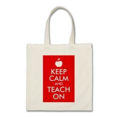 Apple Keep Calm and Teach On Tote Bags