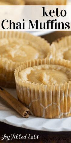 Keto Chai Muffins - Low Carb, Grain Free, THM S - If you love pancakes in the mornings these Warm Chai Pancake Muffins are the perfect make-ahead breakfast. Simply pop a couple in the microwave to warm and the glaze drips down the sides. Sugar Free Desserts, Low Carb Desserts, Low Carb Recipes, Dessert Recipes, Cupcake Recipes, Make Ahead Breakfast, Low Carb Breakfast, Breakfast Dessert, Breakfast Ideas