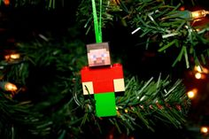 Minecraft Inspired Lego Christmas Ornament by LovingMyLegos, $11.95