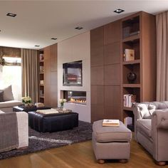 Un gran mueble a medida para ordenar el salón