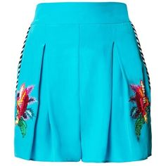 Matthew Williamson Turquoise Jungle Embroidered Shorts (2 975 SEK) ❤ liked on Polyvore featuring shorts, tailored, turquoise, matthew williamson, tailored shorts, pocket shorts, turquoise shorts and beaded shorts