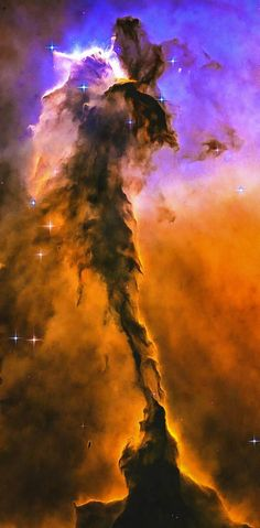 Space Image: Eagle Nebula, fascinating billowing tower of cold gas and dust, orange and blue tones. Digital painting with professionally enhanced clarity and colors, more vibrant and vivid than in the original NASA / ESA Hubble photo. Click here or on the image to bring the fascination of our universe into your home or office: http://matthias-hauser.pixels.com/featured/space-image-eagle-nebula-orange-purple-bue-matthias-hauser.html Space Art for your Home Decor and Interior Design needs.