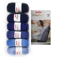 Katia Ombré blue set of 6 individual skeins of 100% Merino extrafine wool.