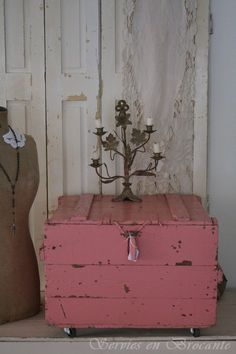 shabby pink crate on wheels