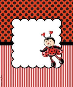 Baby Ladybug, Ladybug Party, Borders For Paper, Borders And Frames, Lady Bug, Birthday Party Invitations, Birthday Cards, Ladybug Costume, Cute Frames