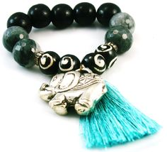 Ella by Brand Corazon elephant bracelet in silver, black and white swirl carved bone, gray agate and black wood with aqua silk tassel