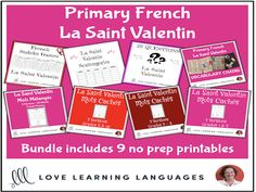 French Primary Valentine's Day Resource BUNDLE - La Saint ValentinThis French resource for Valentine's Day - La Saint Valentin - will save you when having fun with spelling and vocabulary during the month of February in you. Valentines Day Activities, Everyday Activities, Valentines Art, 20 Questions, Primary Singing Time, Core French, French Resources, French Teacher, Learn French