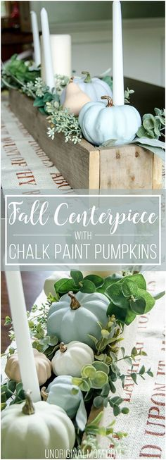 Beautiful pallet box fall centerpiece filled with chalk painted pumpkins. Great … Beautiful pallet box fall centerpiece filled with chalk painted pumpkins. Great neutral fall decor that will last through Thanksgiving! Rustic Thanksgiving, Thanksgiving Centerpieces, Rustic Centerpieces, Thanksgiving Crafts, Centrepiece Ideas, Autumn Decorating, Budget Decorating, Deco Floral, Fall Table