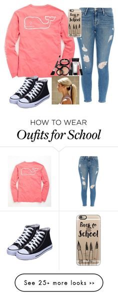 """Back to school"" by shocker44 on Polyvore featuring Vineyard Vines, Frame Denim, Casetify and Laura Geller"