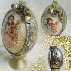 Купить Яйцо декоративное на подставке - яйцо пасхальное, яйцо деревянное, яйцо декупаж, яйцо на подставке