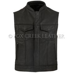 Modeled after the vests worn in the TV show Sons of Anarchy, this is our best selling men's leather vest. Motorcycle Vest, Biker Vest, Jacket Men, Estilo Club, Sons Of Anarchy Vest, Biker Party, Show Jackets, Denim Boots
