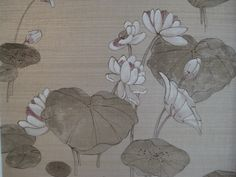 Lilly pad and flowers faux finish with grasscloth background