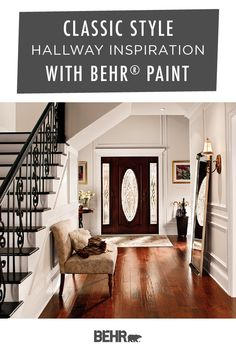If you love classic interior design, then you're sure to love this hallway inspiration from Behr Paint. To add this style to your own home, start with a new coat of Bleached Linen, Polar Bear, and Creamy Mushroom. Click below to learn more about these neutral shades of beige and white.