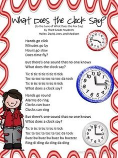 """A group of graders came up with a song to the tune """"What Does the Fox Say?"""" while working in a small group about telling time. I printed the so. Teaching First Grade, Teaching Time, Third Grade Math, Teaching Math, Grade 2, Second Grade, Maths, Math Songs, Preschool Songs"""