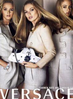 Carmen Kass, Kate Moss, Carolyne Murphy by Mario Testino for Versace ad campaign…