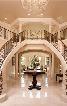 Luxury homes - Luxury Iron Banister, Dual Staircase, Grand Entryway Double Staircase, Grand Staircase, Staircase Design, Spiral Staircases, Staircase Ideas, Grand Entryway, Grand Entrance, Modern Entrance, Big Houses