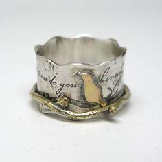 Custom Made Custom Birds On A Branch Spinner Ring