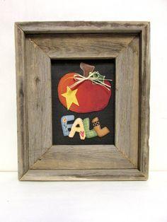 Caída con calabaza, signo, rústico, otoño muestra, enmarcada en mano reciclada…