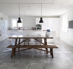 Floor and kitchen