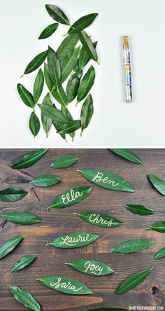 Love these leaf name tags, so creative! #tablesetting #nametags #authentic @artisanslist ❤️ ❤️ ❤️ DIY Leaf Name Tags | Thanksgiving Table Setting | Vicky Barone